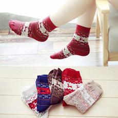 5双装秋冬加厚保暖羊毛袜