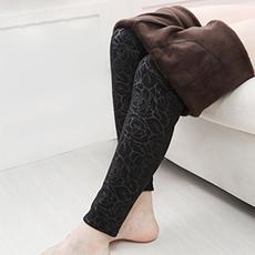 加绒加厚保暖花纹打底裤
