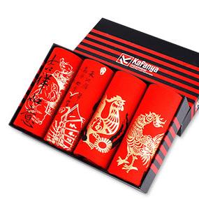 【4条装】大红色鸡年平角裤