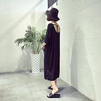 A7SEVEN 夏季宽松中长款纯色显瘦休闲连衣裙