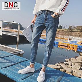韩版潮流修身小脚浅色牛仔裤