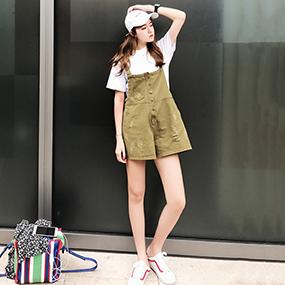 2017夏季新款百搭宽松纯色背带连体裤
