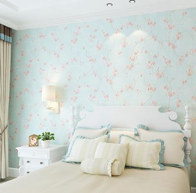 温馨浪漫蓝色田园3d立体无纺布墙纸