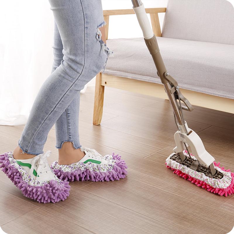 雪尼尔可拆洗男女家用擦地拖鞋