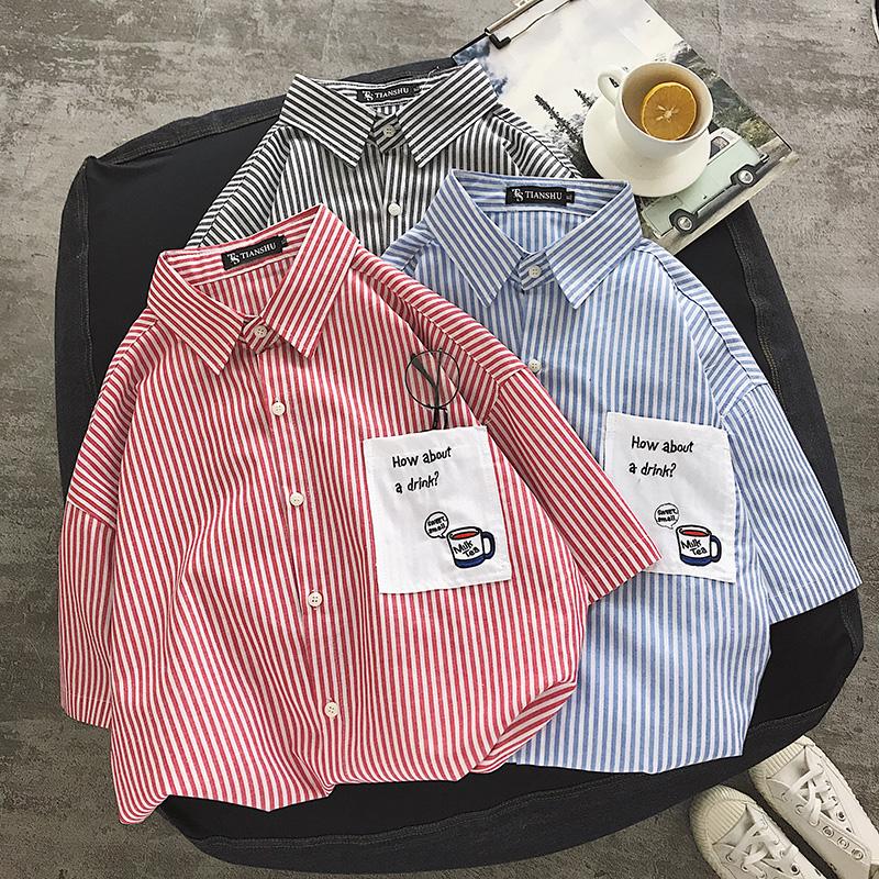 港风夏季新款条纹短袖衬衫