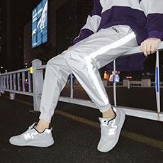 反光ins风运动裤子韩版宽松男生束脚