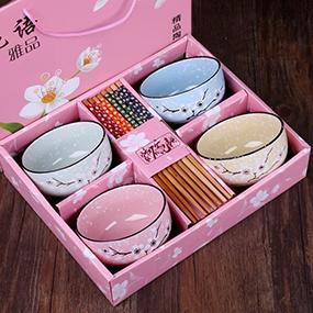 碗筷套装家用吃饭碗可爱礼品碗套装礼盒装